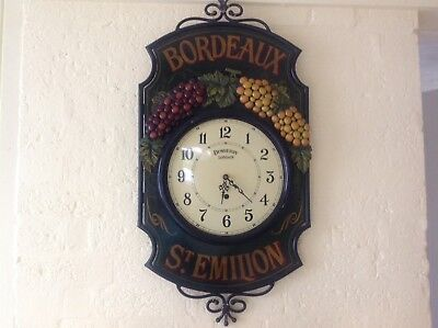 Country Corner Wall Clock Antique French Style Bistro wine wooden metal