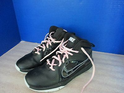 NIKE Black with Pink Laces TENNIS SHOES~Girls Size 6.5~Lightly Used