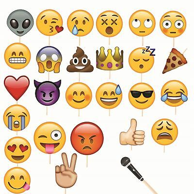 27Pcs Photo Booth Props with Emojis for Birthday Reunions Weddings Party