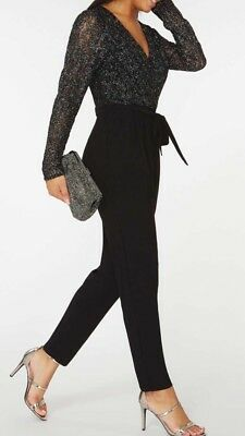 Brand New Dorothy Perkins Black Lace Jumpsuit  8-10-12-18-20-22