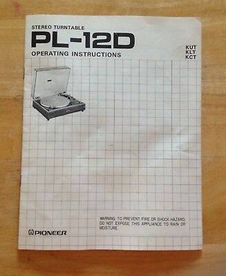Pioneer PL-12D Stereo Turntable Operating Instructions GUC