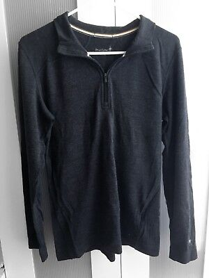 Nice+Warm! SMART WOOL 1/4 Zip Solo or Base Layer Top HEATHER GRAY XL Perfect!