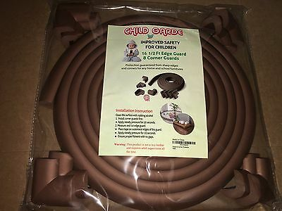 Protection Child Safety 8 Corner Guards and 16.5 ft Edge Guard Baby Proof Brown