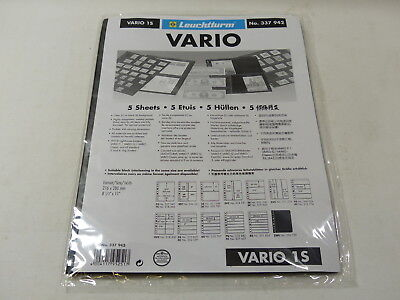 Lighthouse Vario PVC stock pages black backed pack of 5 - choice of strips - NEW