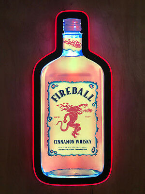 Fireball Whisky Whiskey Neon Led Light Sign Rare Bar Pub Man Cave