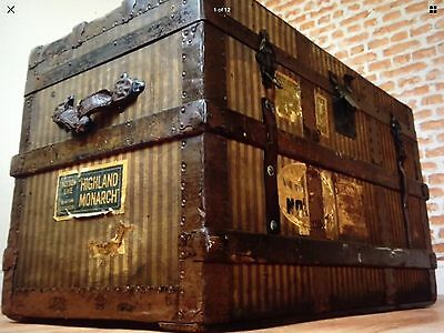 19th centry flat top steamer trunk