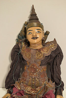 Burmese Asian Puppet Marionette Life Sized Carved Wood Hand Painted Puppet