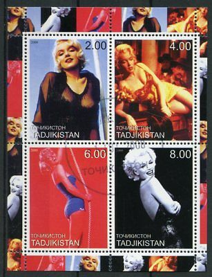 Tajikistan 2000 CTO Marilyn Monroe 4v M/S Stamps Celebrities Movie Stars Stamps