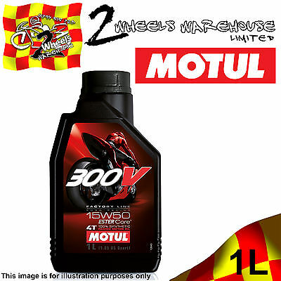 1x 1L MOTUL 300V 15W50 FACTORY LINE ROAD RACING ESTER CORE MOTOR CYCLE BIKE OIL