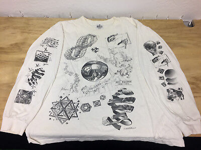 Vintage 1990's MC Escher Long Sleeve Collage T-Shirt