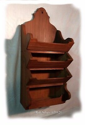 Primitive-Rustic Four Tier Wall Hanging Shelf in Red Wash Paint