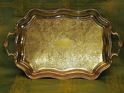 Vintage Butler Cavalier Silver Plated Tray, Rococo style, large, twin handles