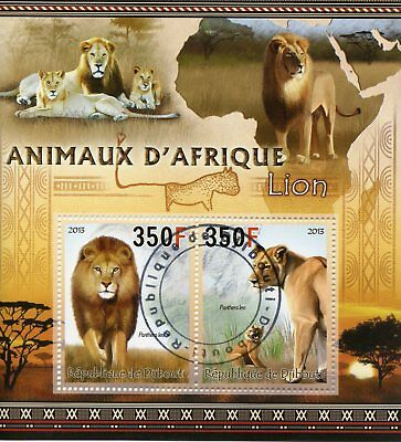 Djibouti 2013 CTO Lions Animals of Africa 2v M/S Big Cats Wild Animals Stamps