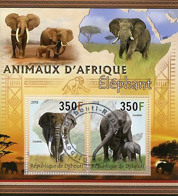Djibouti 2013 CTO Elephants Animals of Africa 2v M/S Wild Animals Stamps