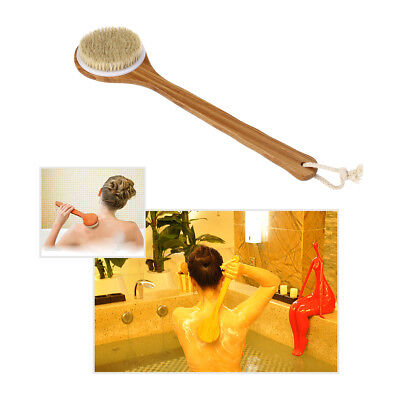 Natural Wood Bristle Body Back Brush Long Bamboo Handle Bath Shower Spa Scrubber