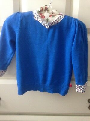 Jools Oliver, Little Bird, Toddler, Girls, Blue, Floral Jumper. Age 18-24 Months