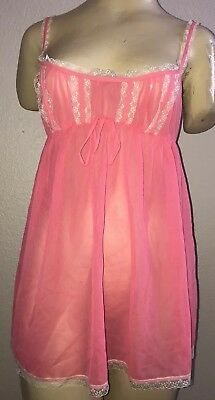 Women's Victoria's Secret Pink Lace Camisole Sheer Nightie Lingerie Top, Size M