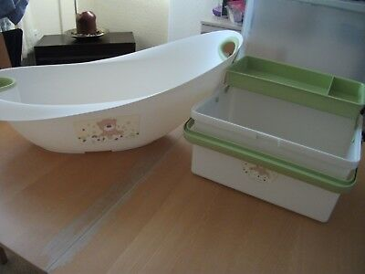 Baby bath and storage box, cream with green trim, unisex in good condition