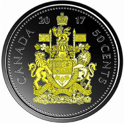2017 Rare Canadian Classic 50 cents Plated Ruthenium with selective gold 24k