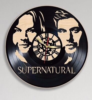 Supernatural Vinyl Clock Wooden Wall Clock Handmade Home Office Decor Gift