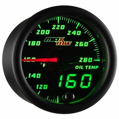 MaxTow 52mm Black Double Vision Oil Temperature Gauge - MT-DV07