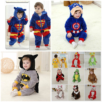 Toddler Fancy Dress Costume Super Hero Deluxe Jumpsuit Outfit Gift 0-36 months.