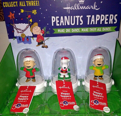 Hallmark 2015 Peanuts Happy Tappers Set/3 50 Years Charlie Brown XMAS W/Tag NEW