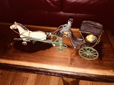Late 19th Century Antique Cast Iron Horse & Carriage w/Driver & Passenger Toy