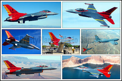 7 Photo Collage F-16 Falcon 302nd FS Tuskegee Airmen Colors 2006 8x12 Photo