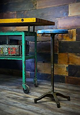 Vintage Blue INDUSTRIAL STEEL Lab Swivel STOOL Adjustable Steampunk 4 Leg Base