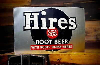 Vintage Hires Root Beer Barrel Soda Pop Bottle Curved Metal Tin Advertising Sign