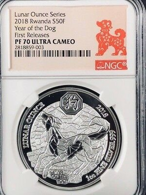 2018 Rwanda Lunar Year of the Dog Silver Proof NGC PF70 First Releases RARE