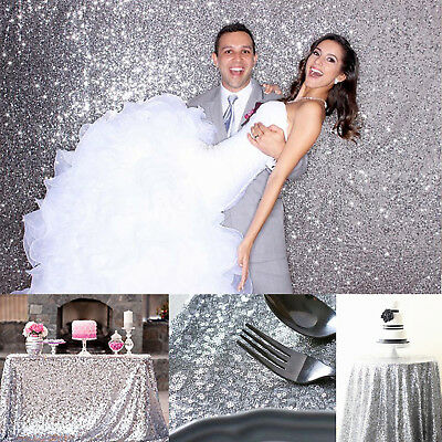 3Mx1.3M Silver Sparkly Sequin Tablecloth Backdrop Wedding Party Table Cloth DIY