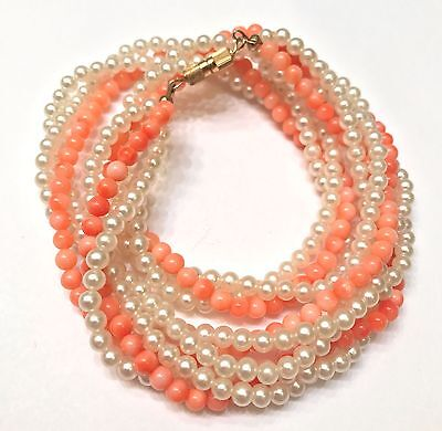 Vintage Angel Skin Coral and Faux Pearl Twisted Strand Necklace- Summer Perfect