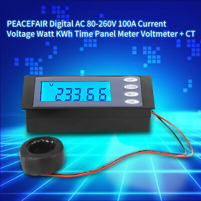 PEACEFAIR AC80-260V 100A LCD Digital Volt Watt Power Meter Ammeter Voltmeter AC