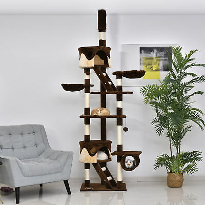 "PawHut 94""-102"" Huge Cat Tree Ceiling High Cat Condo Scratching Post Play House"