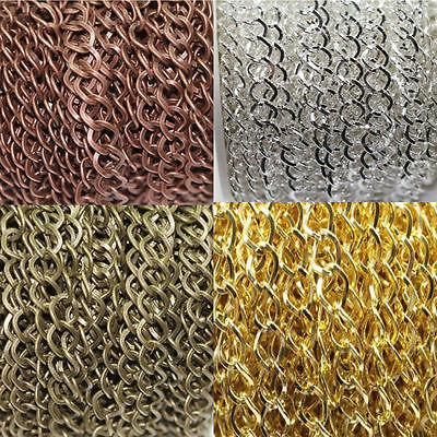 1/5M Gold/Silver Bronze Fine Metal Rhombus Ring Chains Jewelry Making DIY 8x7MM