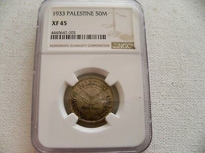 Palestine 50 Mils, 1933 silver coin NGC XF 45 Key Date