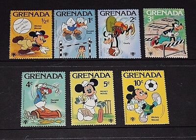 Grenada Disney Characters Mickey Mouse,donald Duck, Set Of 7 Fine M/n/h