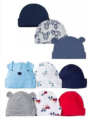 Gerber Newborn Baby Infant Boy Assorted Hats Cap 6-Pack Size 0-6 ~ You Choose ~