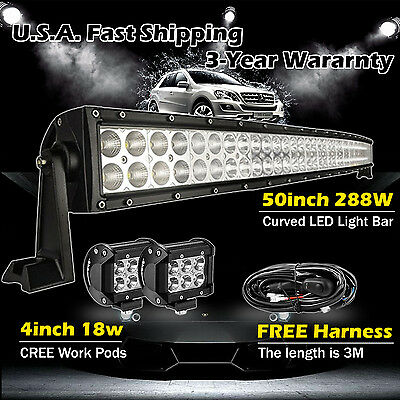 """50inch LED Light Bar Curved + 2x 4"""" CREE Led Pods Truck Off road Jeep SUV 4WD 52"""