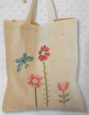 "Modern ""FLOWERS"" BAG KIT to cross stitch. Hand Stamped 100% cotton 38 X 45CM"