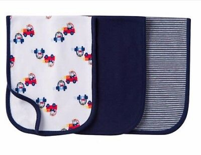 Gerber Baby Infant Boy Terry Lined Burp Cloth 3 Pack