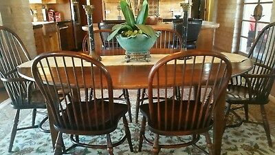 Antique English Oak Dining Table and 6 matching chairs