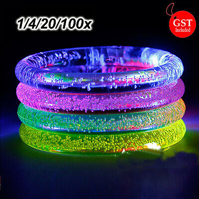 1/4/20/100X LED Bracelet Bubble Colour Changing Bangle Party Blinking Glow dark