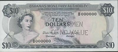 Bahamas  $10  L. 1968  P 30s  Perforated Specimen  Uncirculated Banknote