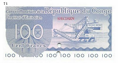 Congo 100  Francs 1963 P 1cts  Color trial Specimen # 71 Uncirculated Banknote