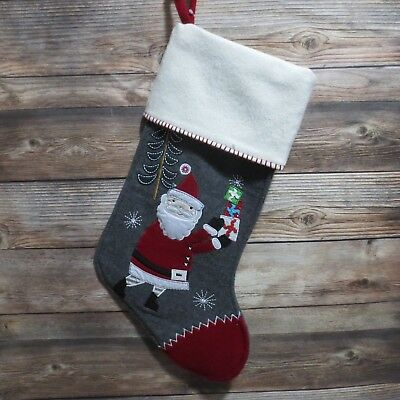Pottery Barn Kids Christmas Stocking NORDIC WOOL embroidered Santa Claus