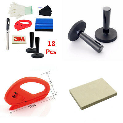 18xCar Vinyl Wrapping Installation Tools Kit Squeegee Glove Magnet Wool Squeegee