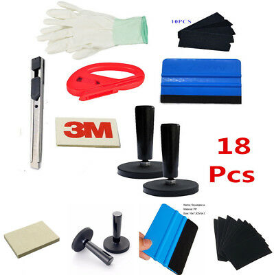 18x Car Wrapping Installation Tools Kit Vinyl Wrap Squeegee Glove Magnet Cutter